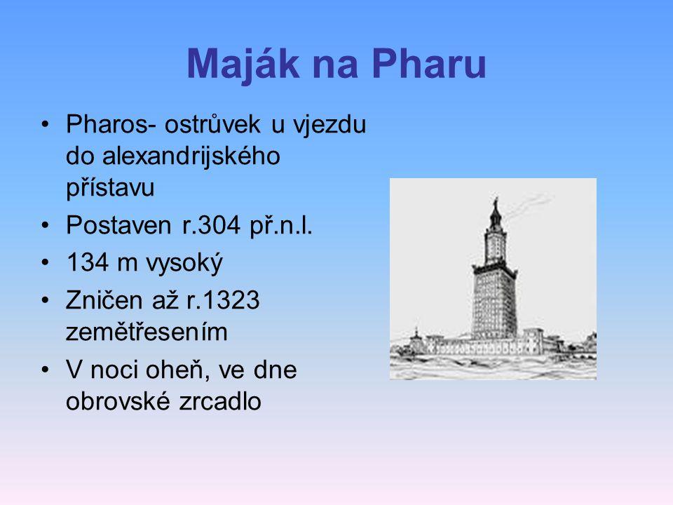 Maják na Pharu Pharos- ostrůvek u vjezdu do alexandrijského přístavu Postaven r.304 př.n.l.