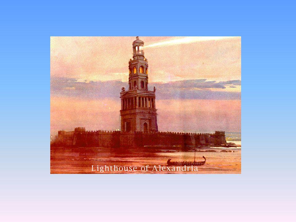 Maják na Pharu Pharos- ostrůvek u vjezdu do alexandrijského přístavu Postaven r.304 př.n.l. 134 m vysoký Zničen až r.1323 zemětřesením V noci oheň, ve