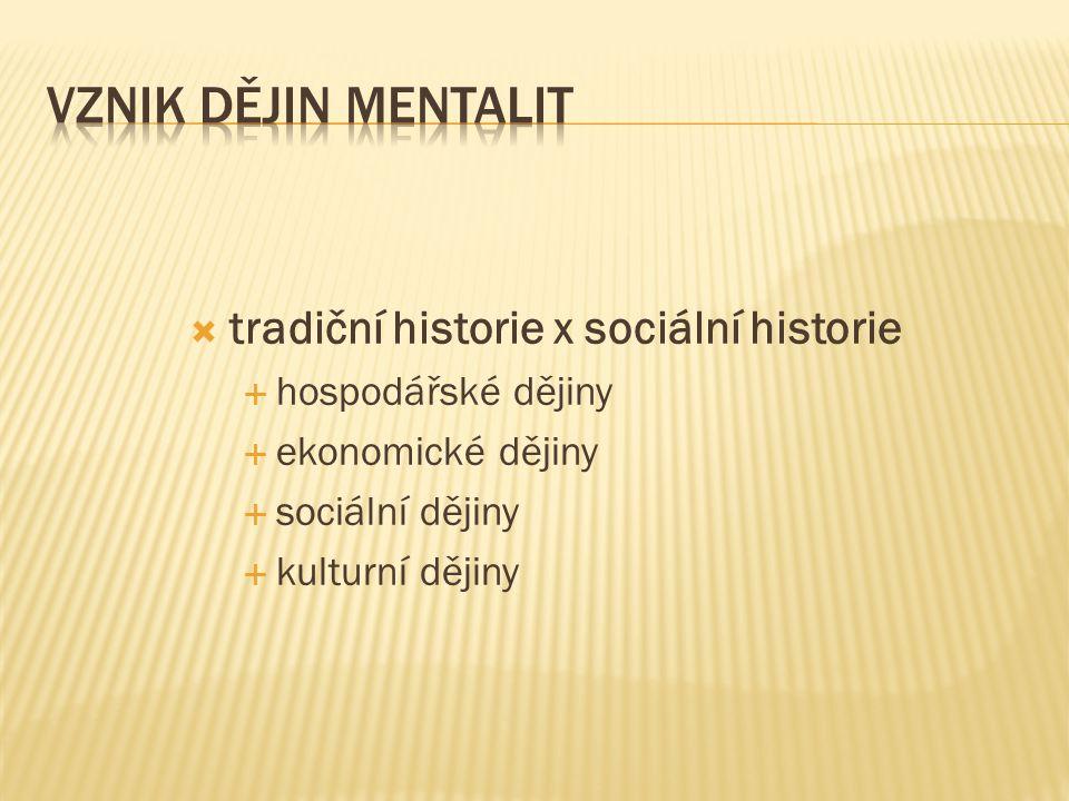  ??.hospodářské dějiny → dějiny mentalit ??.