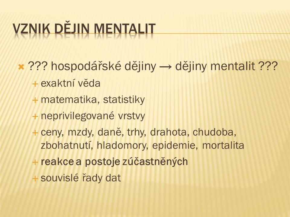  . hospodářské dějiny → dějiny mentalit .