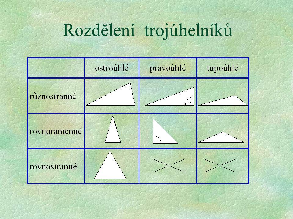 Trojúhelníky rozdělujeme §P§Podle délky stran §a§a) různostranné §b§b) rovnoramenné §c§c) rovnostranné §P§Podle velikosti úhlů §a§a) ostroúhlé §b§b) p