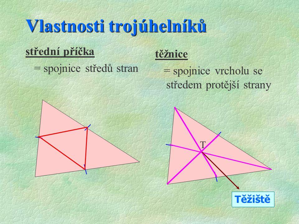 Vlastnosti trojúhelníků §S§STŘEDNÍ PŘÍČKA - spojnice středů stran §T§TĚŽNICE - spojnice vrcholu se středem protější strany §T§TĚŽIŠTĚ - průsečík těžni