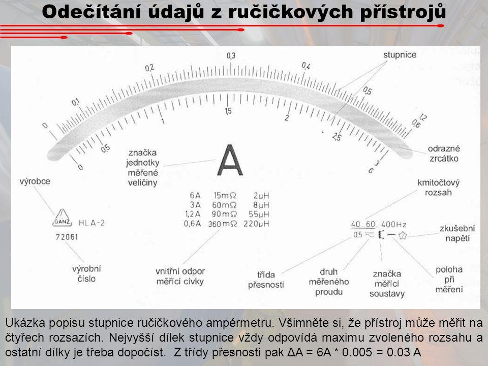 Odečítání údajů z ručičkových přístrojů Ukázka popisu stupnice ručičkového ampérmetru. Všimněte si, že přístroj může měřit na čtyřech rozsazích. Nejvy