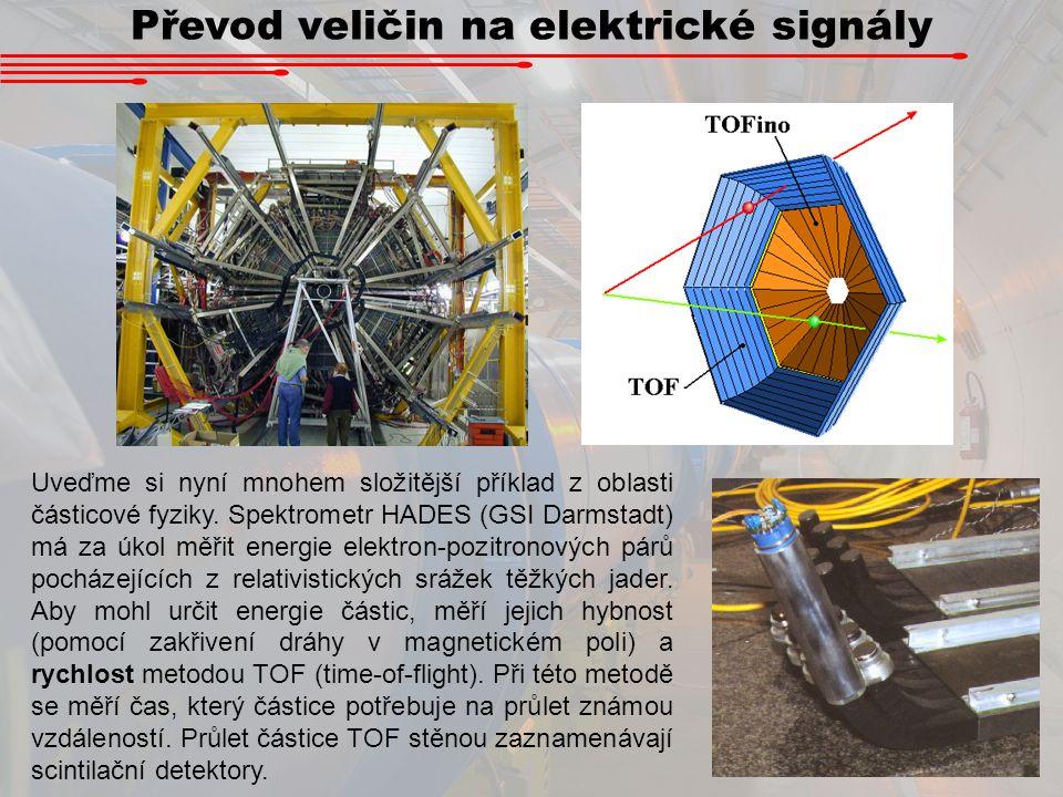 Převod veličin na elektrické signály Uveďme si nyní mnohem složitější příklad z oblasti částicové fyziky. Spektrometr HADES (GSI Darmstadt) má za úkol