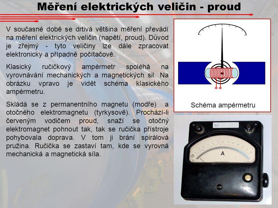 Měření elektrických veličin - proud V současné době se drtivá většina měření převádí na měření elektrických veličin (napětí, proud). Důvod je zřejmý -