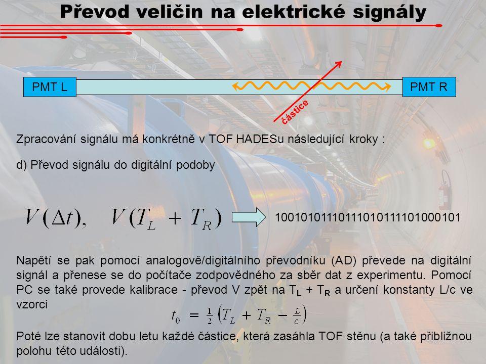Převod veličin na elektrické signály PMT L PMT R částice Zpracování signálu má konkrétně v TOF HADESu následující kroky : d) Převod signálu do digitál