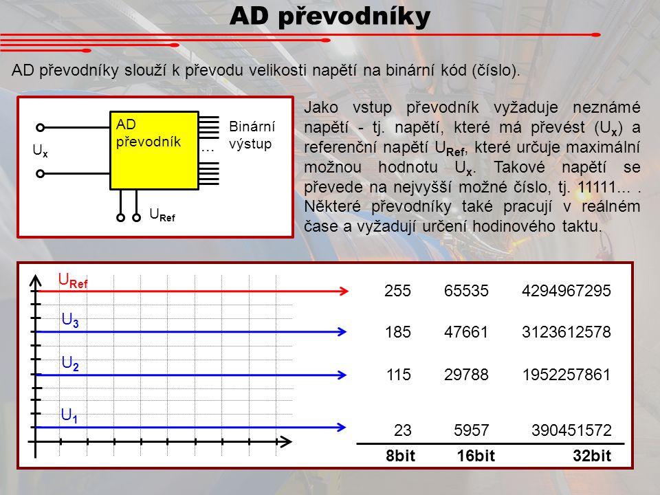 AD převodníky AD převodníky slouží k převodu velikosti napětí na binární kód (číslo).... AD převodník UxUx U Ref Binární výstup Jako vstup převodník v