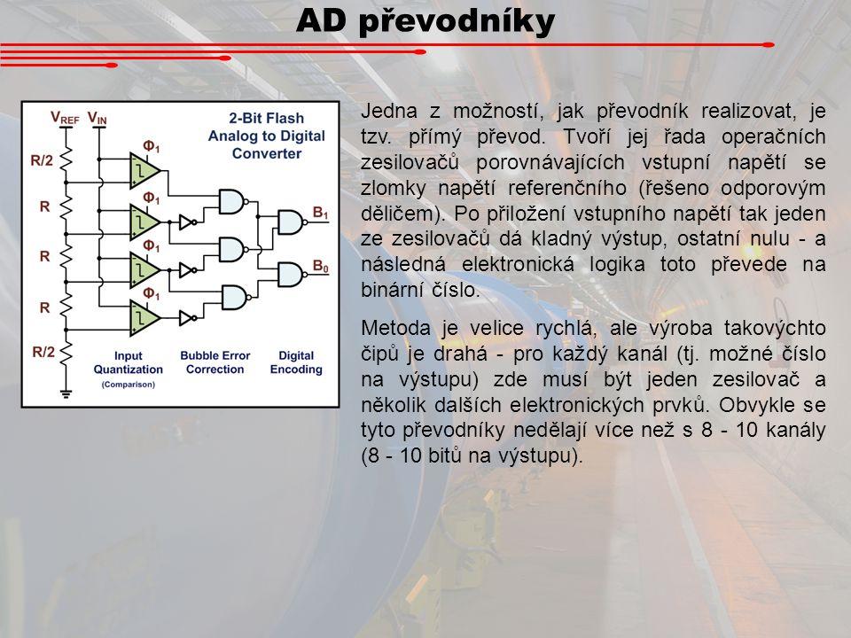 AD převodníky Jedna z možností, jak převodník realizovat, je tzv. přímý převod. Tvoří jej řada operačních zesilovačů porovnávajících vstupní napětí se