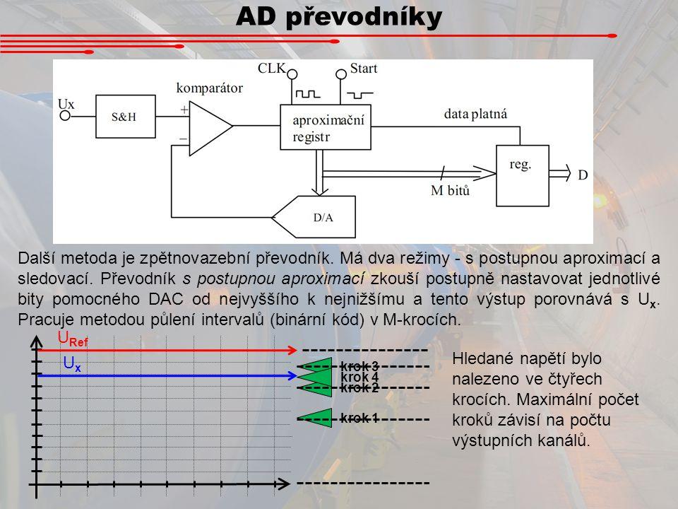 AD převodníky Další metoda je zpětnovazební převodník. Má dva režimy - s postupnou aproximací a sledovací. Převodník s postupnou aproximací zkouší pos
