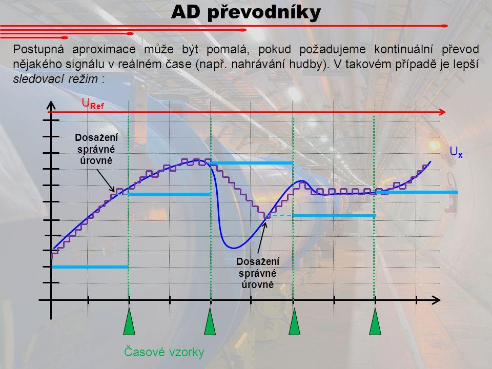 AD převodníky Postupná aproximace může být pomalá, pokud požadujeme kontinuální převod nějakého signálu v reálném čase (např. nahrávání hudby). V tako
