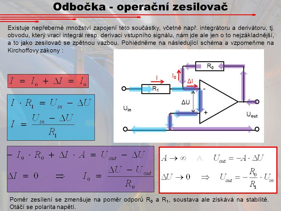 Odbočka - operační zesilovač Existuje nepřeberné množství zapojení této součástky, včetně např. integrátoru a derivátoru, tj. obvodu, který vrací inte