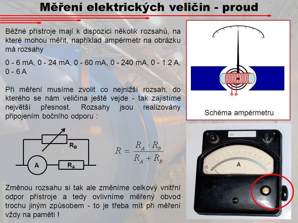 Měření elektrických veličin - proud Běžné přístroje mají k dispozici několik rozsahů, na které mohou měřit, například ampérmetr na obrázku má rozsahy