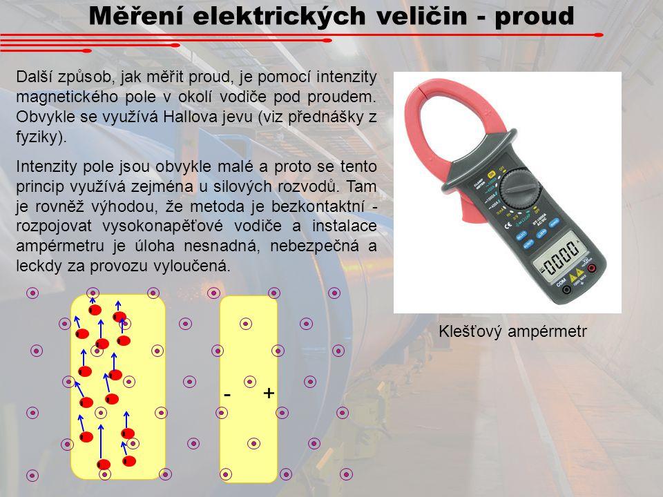 Měření elektrických veličin - proud Další způsob, jak měřit proud, je pomocí intenzity magnetického pole v okolí vodiče pod proudem. Obvykle se využív