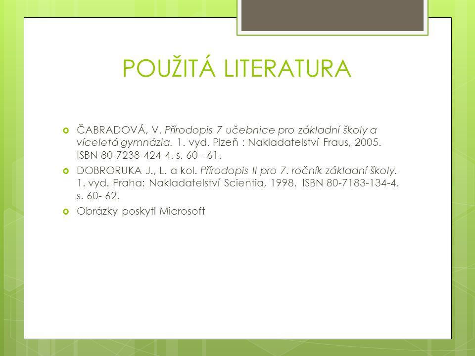 POUŽITÁ LITERATURA  ČABRADOVÁ, V. Přírodopis 7 učebnice pro základní školy a víceletá gymnázia. 1. vyd. Plzeň : Nakladatelství Fraus, 2005. ISBN 80-7