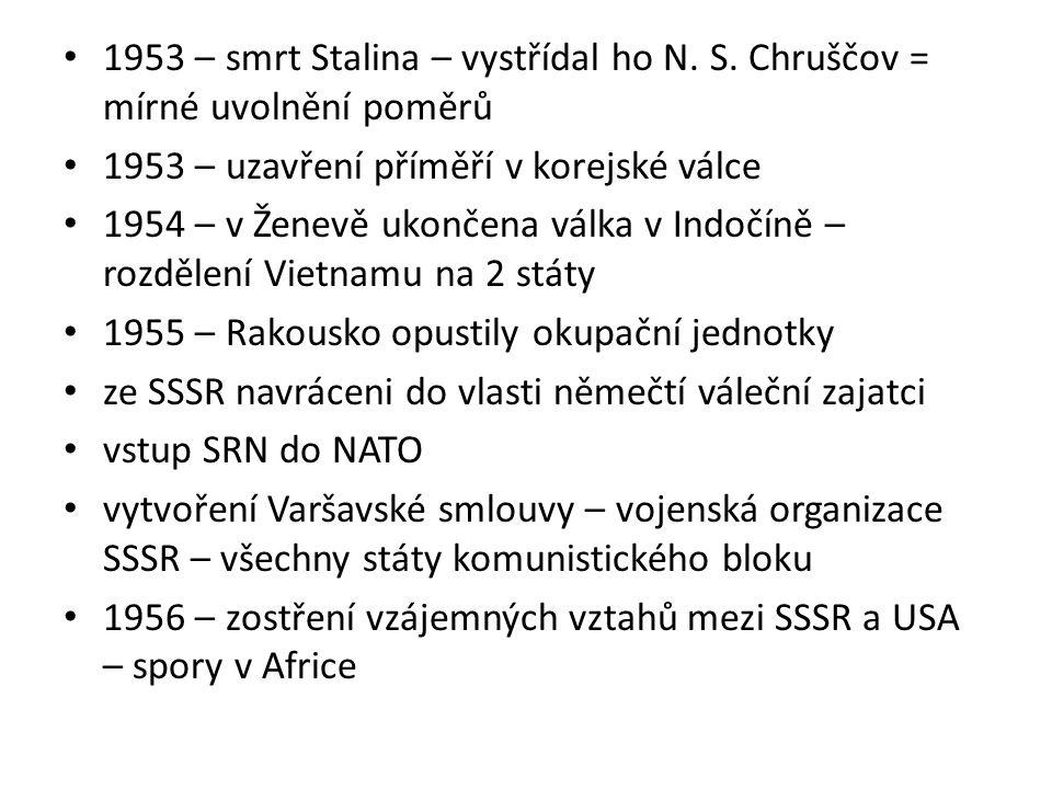 1953 – smrt Stalina – vystřídal ho N. S. Chruščov = mírné uvolnění poměrů 1953 – uzavření příměří v korejské válce 1954 – v Ženevě ukončena válka v In