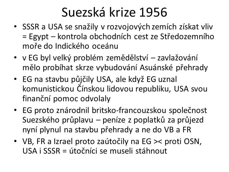 Suezská krize 1956 SSSR a USA se snažily v rozvojových zemích získat vliv = Egypt – kontrola obchodních cest ze Středozemního moře do Indického oceánu