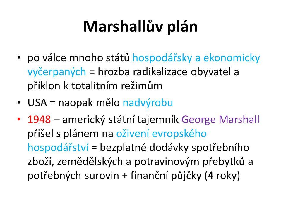 Marshallův plán po válce mnoho států hospodářsky a ekonomicky vyčerpaných = hrozba radikalizace obyvatel a příklon k totalitním režimům USA = naopak m