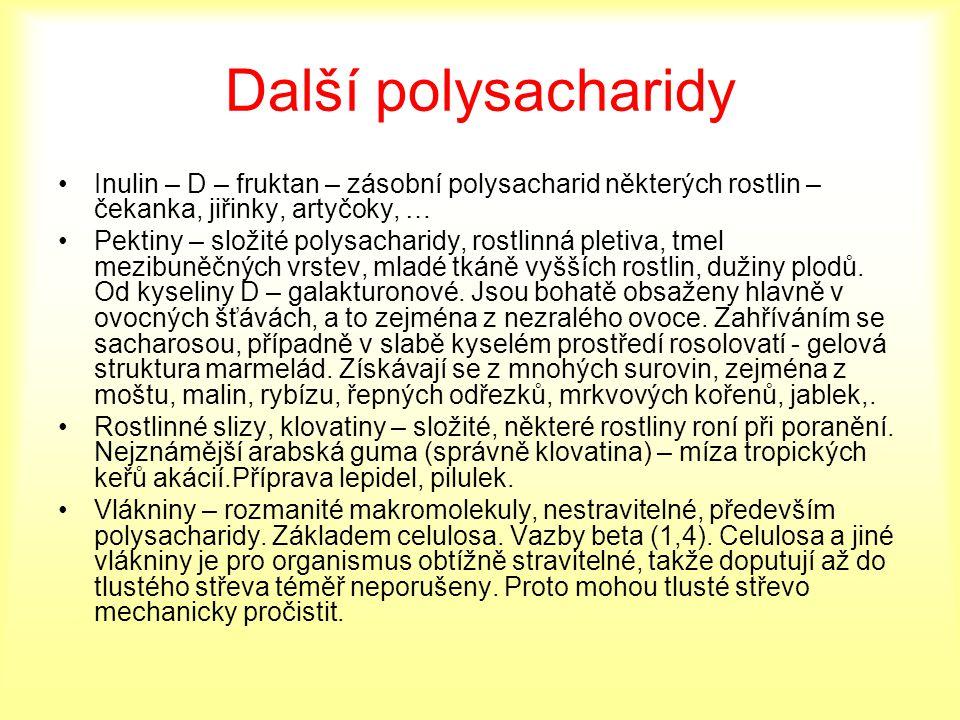 Další polysacharidy Inulin – D – fruktan – zásobní polysacharid některých rostlin – čekanka, jiřinky, artyčoky, … Pektiny – složité polysacharidy, ros