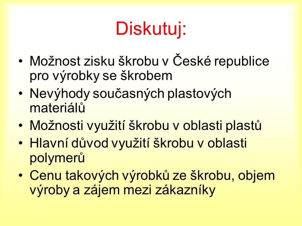 Diskutuj: Možnost zisku škrobu v České republice pro výrobky se škrobem Nevýhody současných plastových materiálů Možnosti využití škrobu v oblasti pla