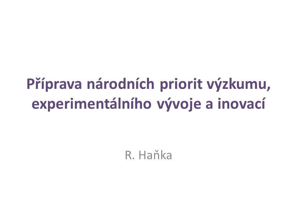 Příprava národních priorit výzkumu, experimentálního vývoje a inovací R. Haňka