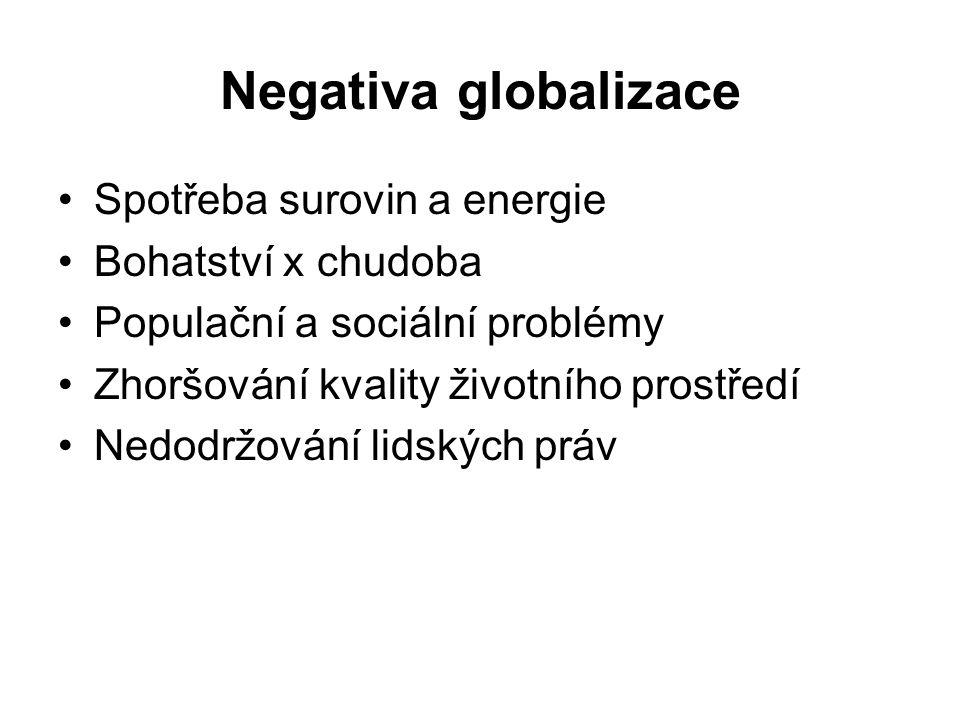 Negativa globalizace Spotřeba surovin a energie Bohatství x chudoba Populační a sociální problémy Zhoršování kvality životního prostředí Nedodržování