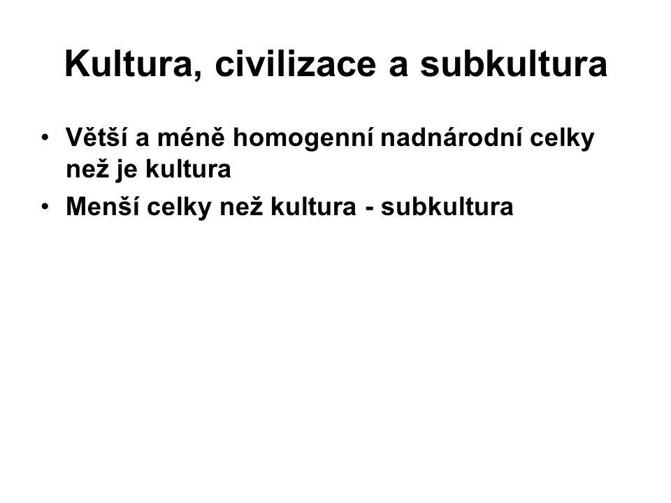 Kultura, civilizace a subkultura Větší a méně homogenní nadnárodní celky než je kultura Menší celky než kultura - subkultura