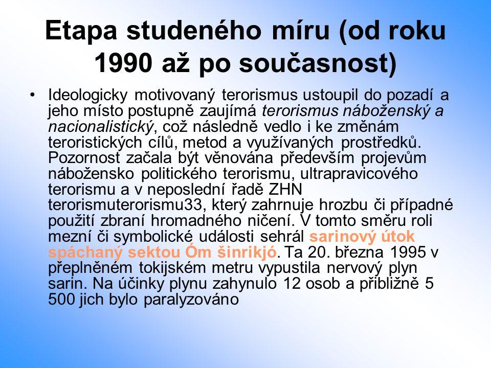 Etapa studeného míru (od roku 1990 až po současnost) Ideologicky motivovaný terorismus ustoupil do pozadí a jeho místo postupně zaujímá terorismus náb