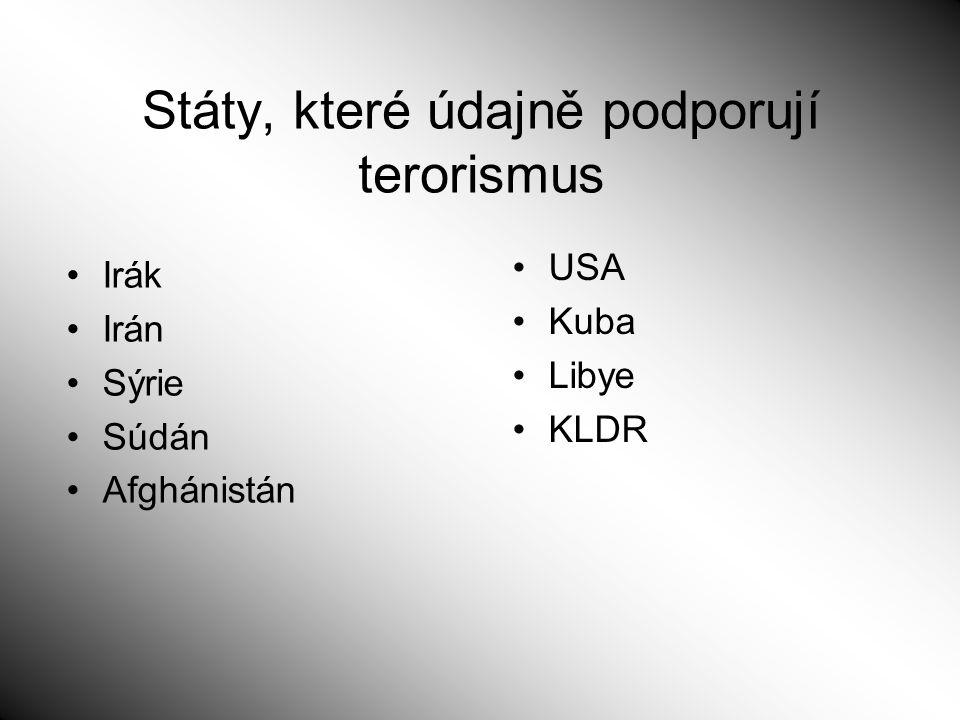 Státy, které údajně podporují terorismus Irák Irán Sýrie Súdán Afghánistán USA Kuba Libye KLDR