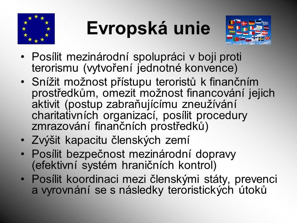 Evropská unie Posílit mezinárodní spolupráci v boji proti terorismu (vytvoření jednotné konvence) Snížit možnost přístupu teroristů k finančním prostř
