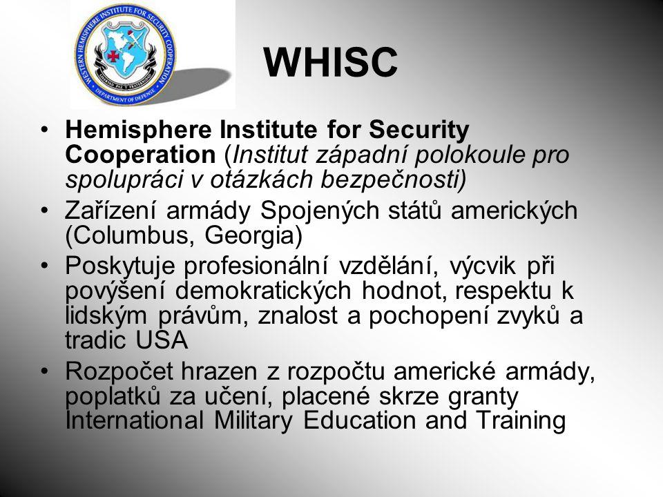 WHISC Hemisphere Institute for Security Cooperation (Institut západní polokoule pro spolupráci v otázkách bezpečnosti) Zařízení armády Spojených států