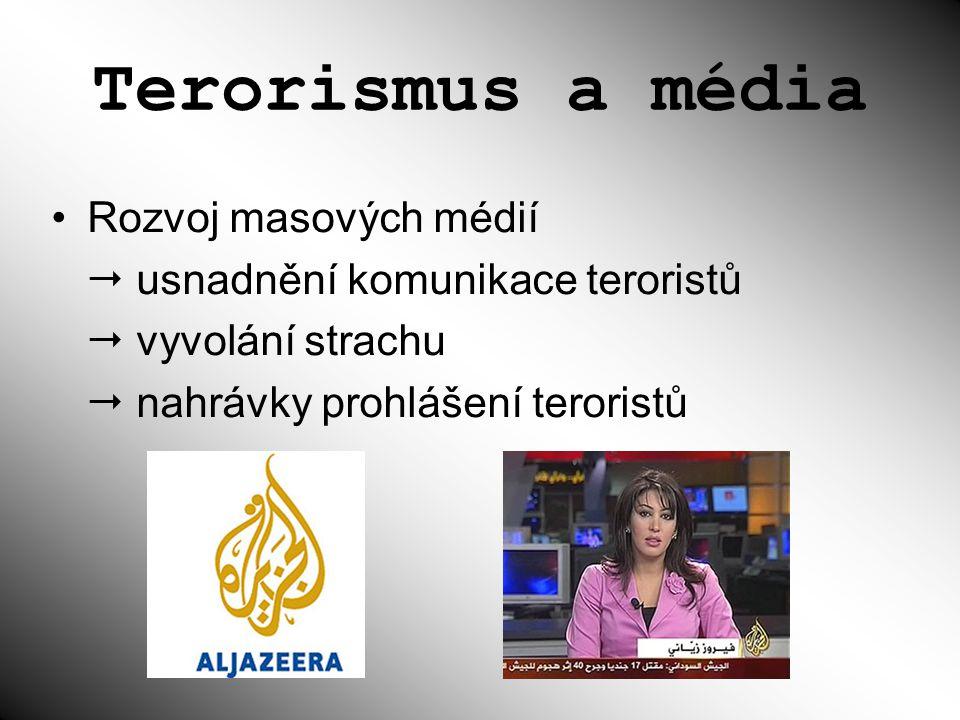 Terorismus a média Rozvoj masových médií  usnadnění komunikace teroristů  vyvolání strachu  nahrávky prohlášení teroristů