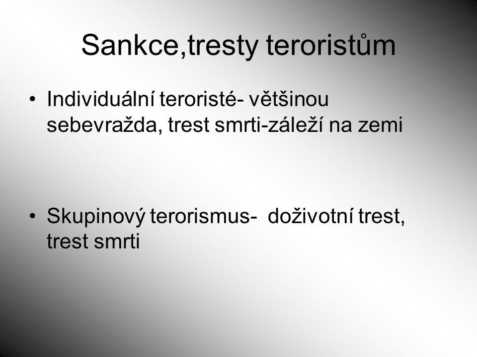 Sankce,tresty teroristům Individuální teroristé- většinou sebevražda, trest smrti-záleží na zemi Skupinový terorismus- doživotní trest, trest smrti