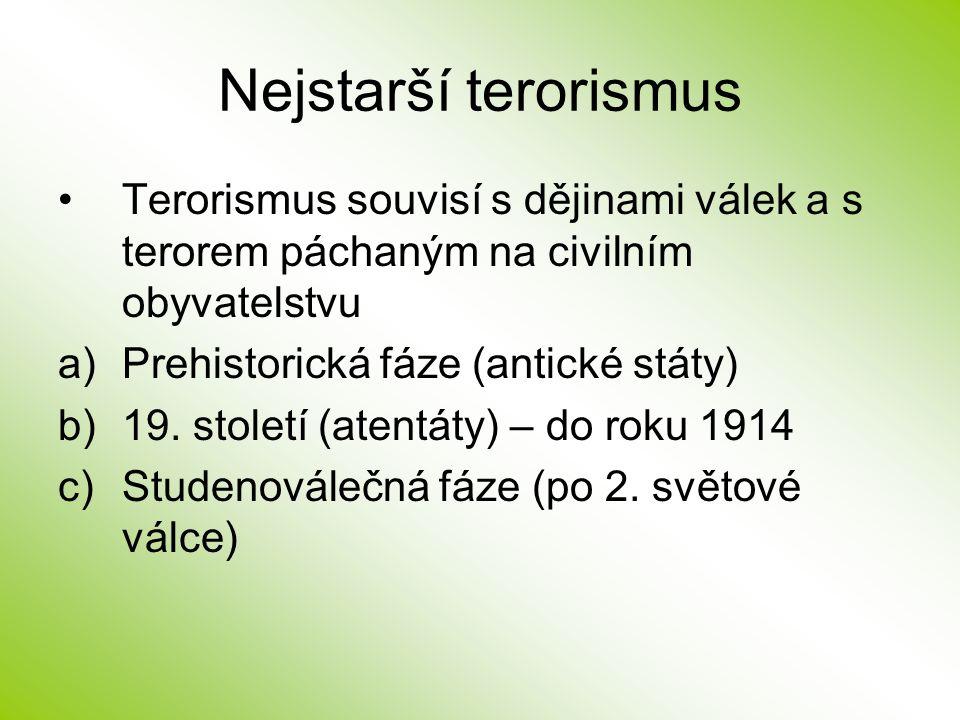 Nejstarší terorismus Terorismus souvisí s dějinami válek a s terorem páchaným na civilním obyvatelstvu a)Prehistorická fáze (antické státy) b)19. stol