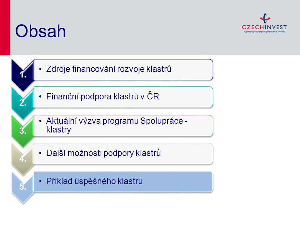 Obsah 1. Zdroje financování rozvoje klastrů 2. Finanční podpora klastrů v ČR 3. Aktuální výzva programu Spolupráce - klastry 4. Další možnosti podpory