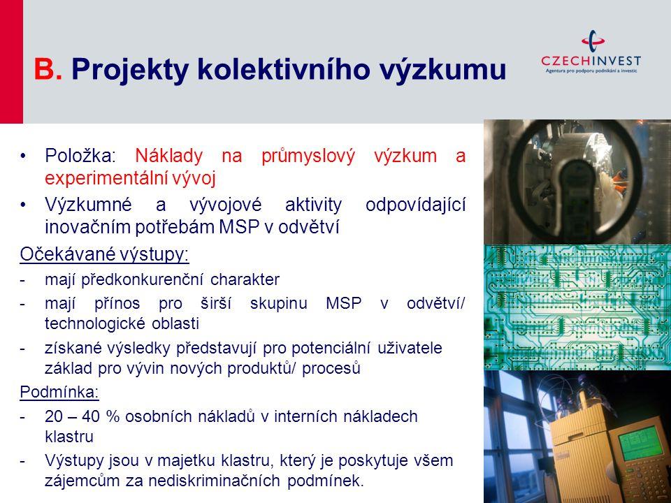 B. Projekty kolektivního výzkumu Položka: Náklady na průmyslový výzkum a experimentální vývoj Výzkumné a vývojové aktivity odpovídající inovačním potř