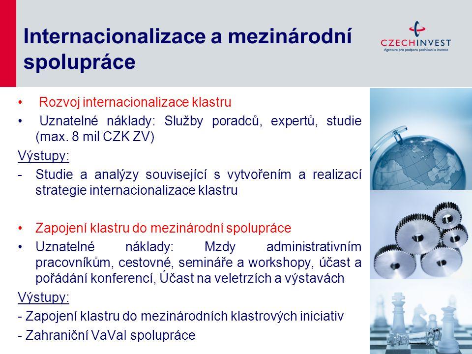 Internacionalizace a mezinárodní spolupráce Rozvoj internacionalizace klastru Uznatelné náklady: Služby poradců, expertů, studie (max. 8 mil CZK ZV) V