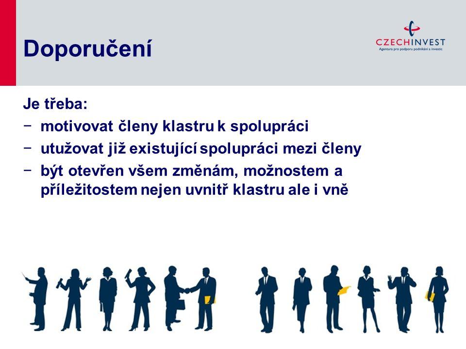Doporučení Je třeba: −motivovat členy klastru k spolupráci −utužovat již existující spolupráci mezi členy −být otevřen všem změnám, možnostem a přílež