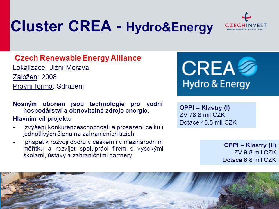 Cluster CREA - Hydro&Energy Lokalizace: Jižní Morava Založen: 2008 Právní forma: Sdružení Nosným oborem jsou technologie pro vodní hospodářství a obno