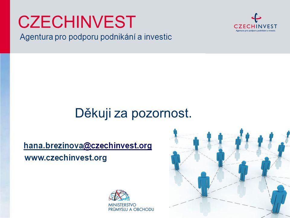 Děkuji za pozornost. hana.brezinova@czechinvest.org@czechinvest.org www.czechinvest.org CZECHINVEST Agentura pro podporu podnikání a investic