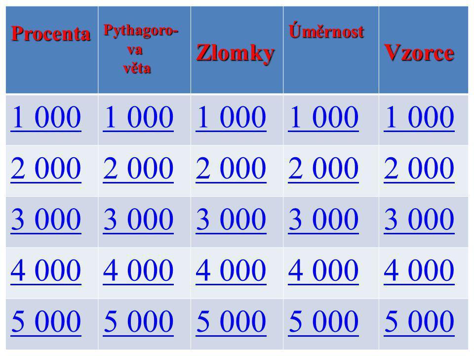 ProcentaPythagoro- va va věta větaZlomkyÚměrnostVzorce 1 000 2 000 3 000 4 000 5 000
