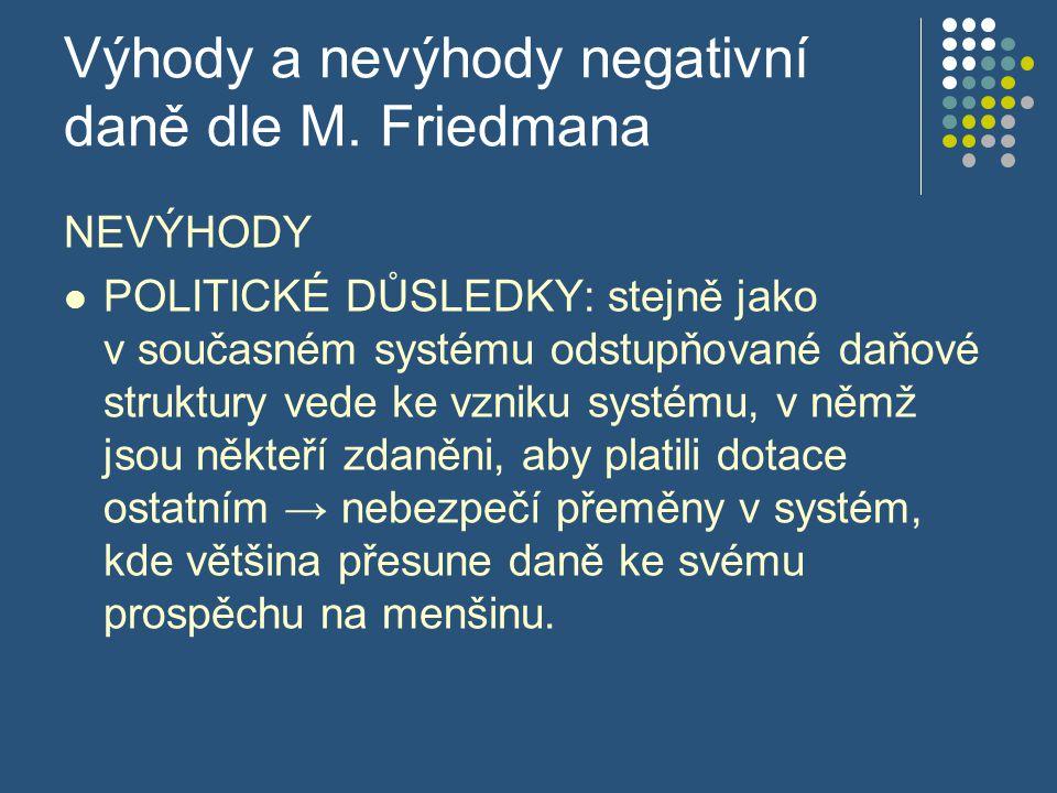 Výhody a nevýhody negativní daně dle M. Friedmana NEVÝHODY POLITICKÉ DŮSLEDKY: stejně jako v současném systému odstupňované daňové struktury vede ke v