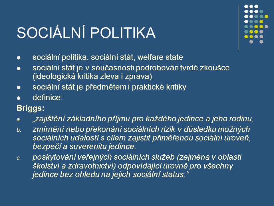 """SOCIÁLNÍ POLITIKA Peacock: """"Skutečným účelem welfare state je naučit lidi, jak si počínat bez něho. Liberální definice: """"Sociální stát změkčuje rizika moderního života, realizuje opatření k zajištění bezpečnosti všech občanů, zvyšuje rovnost příležitostí, a tím tlumí třídní konflikt a podporuje sociální spravedlnost. [1][1] http://cs.wikipedia.org/wiki/Soci%C3%A1ln%C3%A D_st%C3%A1t[1]http://cs.wikipedia.org/wiki/Soci%C3%A1ln%C3%A D_st%C3%A1t (online) Navštíveno 8.10.2008"""