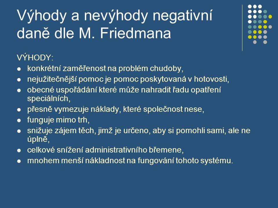 Výhody a nevýhody negativní daně dle M. Friedmana VÝHODY: konkrétní zaměřenost na problém chudoby, nejužitečnější pomoc je pomoc poskytovaná v hotovos