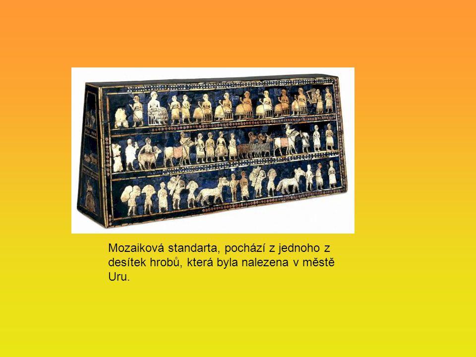 Mozaiková standarta, pochází z jednoho z desítek hrobů, která byla nalezena v městě Uru.