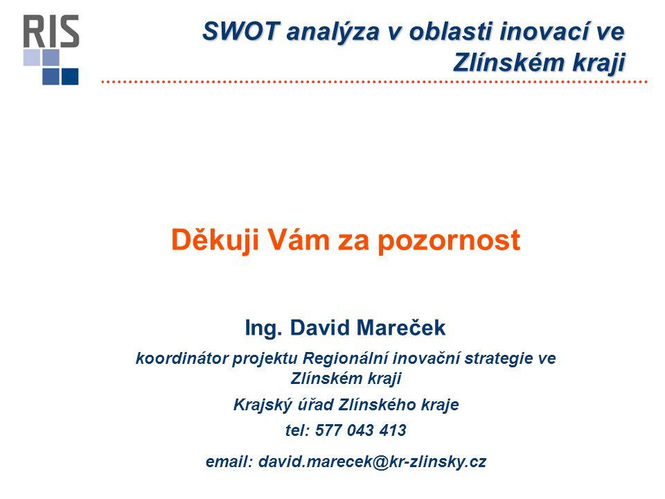 Děkuji Vám za pozornost Ing. David Mareček koordinátor projektu Regionální inovační strategie ve Zlínském kraji Krajský úřad Zlínského kraje tel: 577