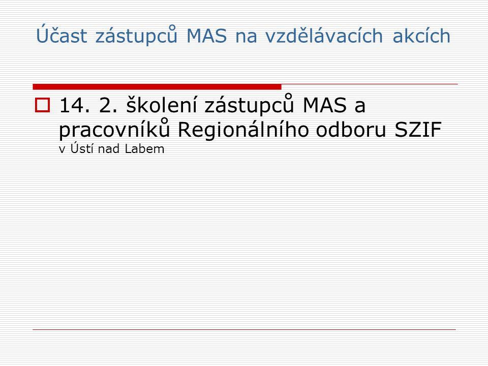 Účast zástupců MAS na vzdělávacích akcích  14. 2.