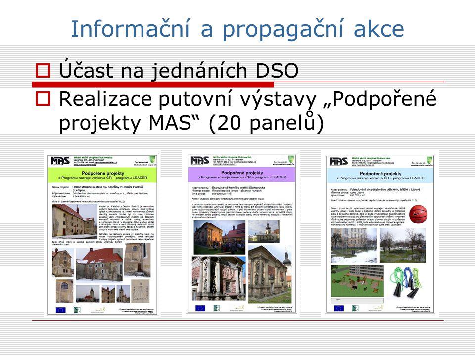 """Informační a propagační akce  Účast na jednáních DSO  Realizace putovní výstavy """"Podpořené projekty MAS (20 panelů)"""
