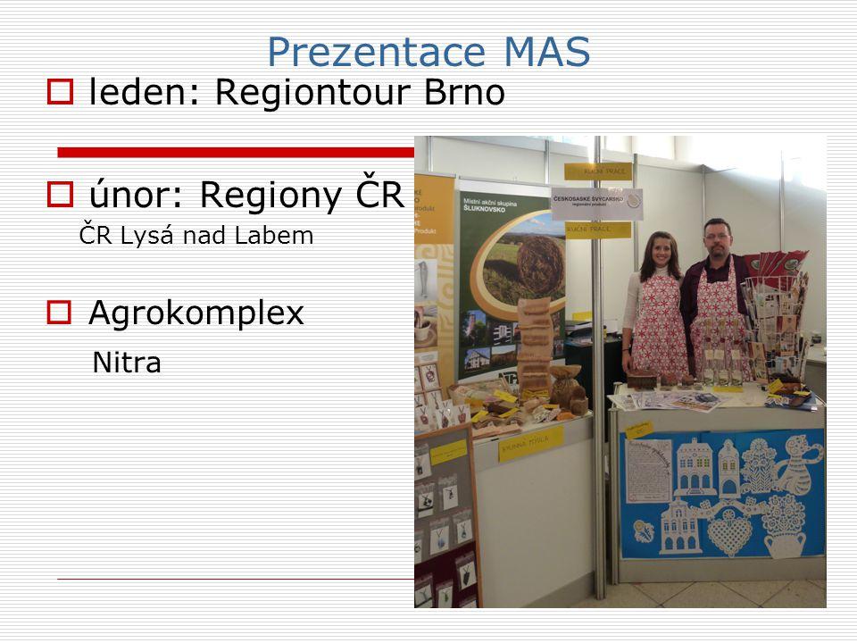 Prezentace MAS  leden: Regiontour Brno  únor: Regiony ČR ČR Lysá nad Labem  Agrokomplex Nitra
