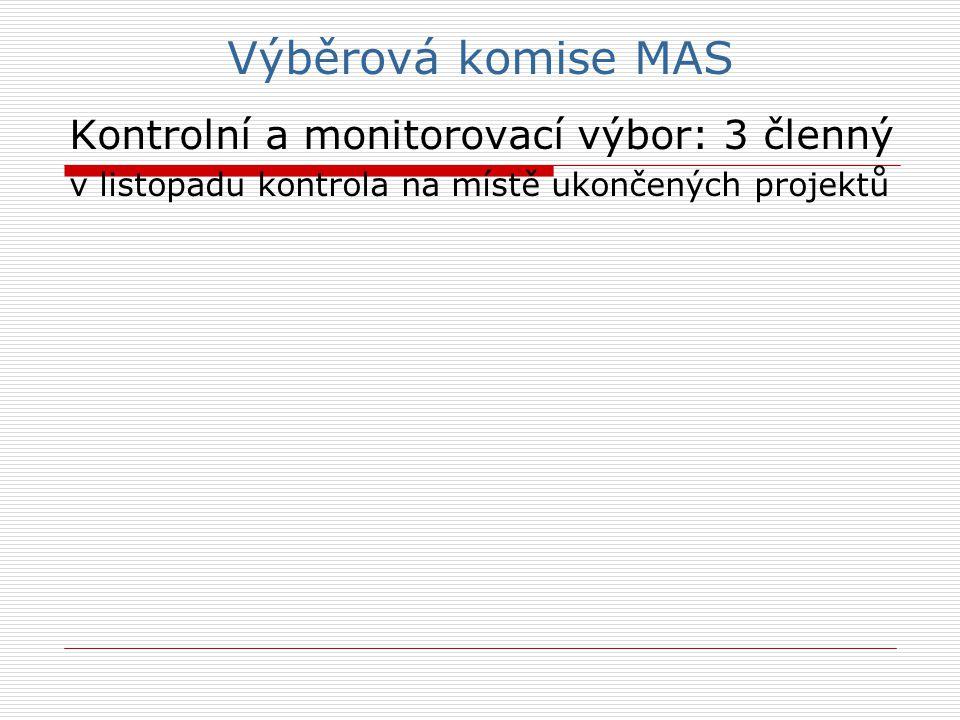 Výběrová komise MAS Kontrolní a monitorovací výbor: 3 členný v listopadu kontrola na místě ukončených projektů
