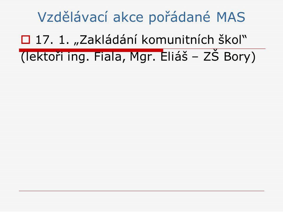 """Vzdělávací akce pořádané MAS  17.1. """"Zakládání komunitních škol (lektoři ing."""